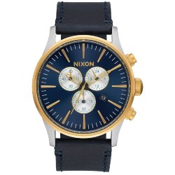 ЧАСЫ  Nixon SENTRY CHRONO LEATHER GOLD/BLUE SUNRAY