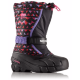 БОТИНКИ  SOREL YOUTH FLURRY PRINT Black, Pink Ice