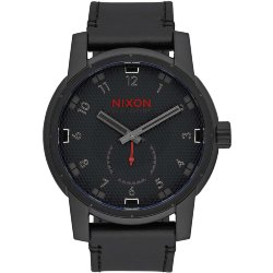 ЧАСЫ  Nixon PATRIOT LEATHER ALL BLACK/STAMPED