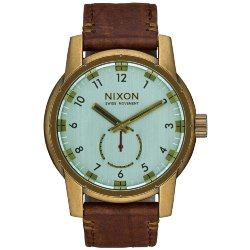 ЧАСЫ  Nixon PATRIOT LEATHER BRASS/GREEN CRYSTAL/BROWN