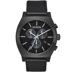 ЧАСЫ  Nixon TIME TELLER CHRONO LEATHER All Black/White