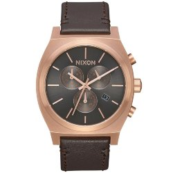 ЧАСЫ  Nixon TIME TELLER CHRONO LEATHER Rose Gold/Gunmetal/Brown